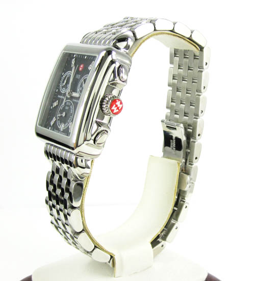 Ladies michele deco day diamond dial white stainless steel watch 0.05ct