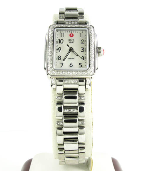 Ladies michele deco mini diamond white stainless steel watch 0.36ct
