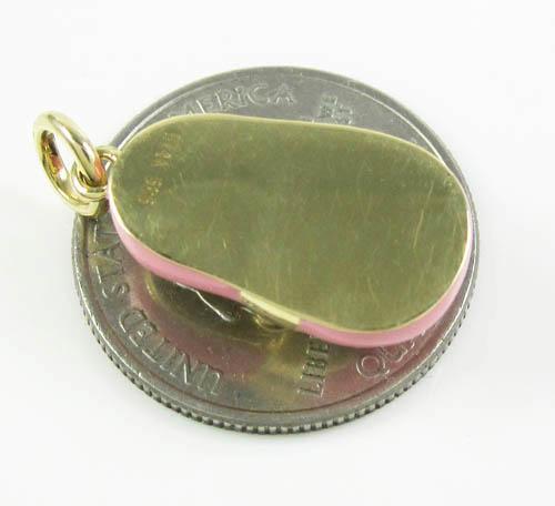 14k yellow gold enamel diamond baby shoe pendant 0.01ct