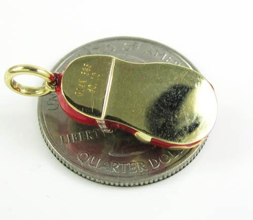 14k yellow gold red enamel diamond flower baby shoe pendant 0.10ct