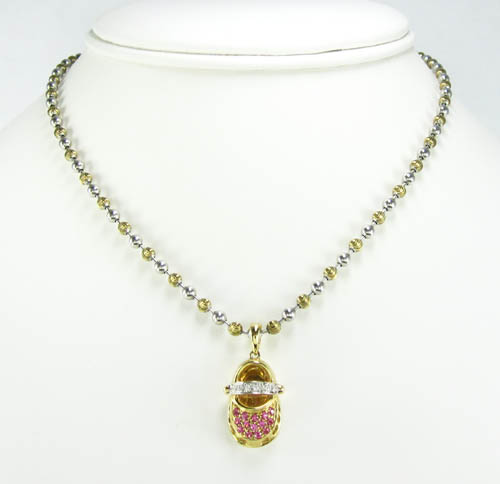 14k yellow gold diamond & pink sapphire baby shoe pendant 0.40ct
