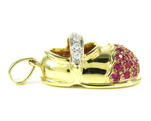 14k yellow gold diamond & purple sapphire baby shoe pendant 0.51ct