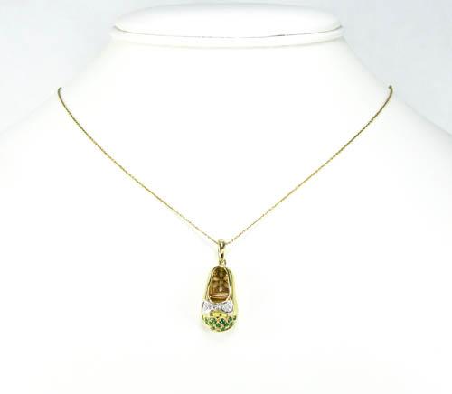 14k yellow gold diamond & green emerald baby shoe pendant 0.17ct