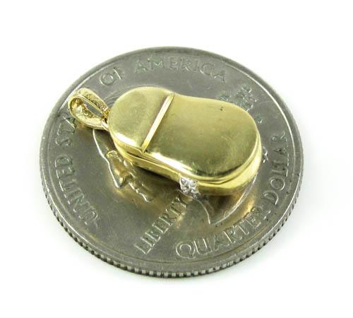 14k yellow gold diamond heart baby shoe pendant 0.09ct