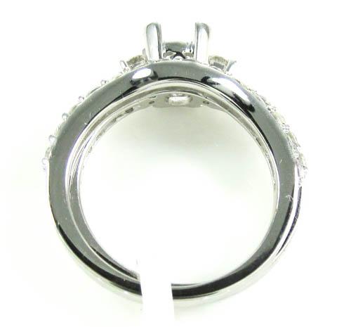 Ladies 14k white gold round diamond semi mount ring set 1.15ct