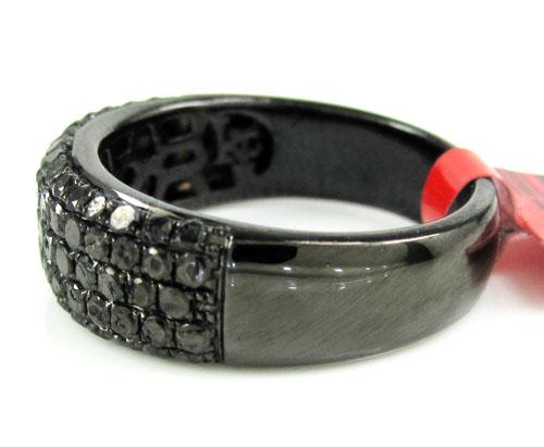 Ladies 925 black sterling silver black diamond wedding band 1.15ct