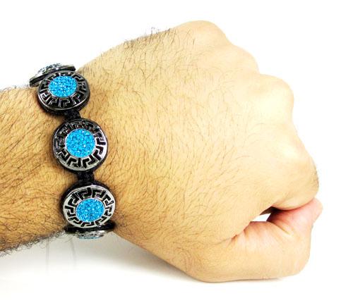 Mens black stainless steel aqua blue rhinestone round fendi style bracelet 3.50ct