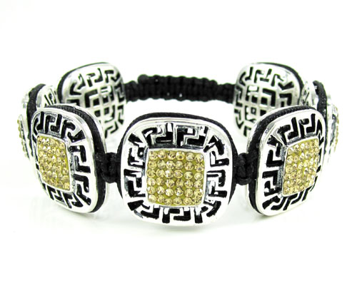 Mens white stainless steel canary rhinestone box fendi style bracelet 3.50ct