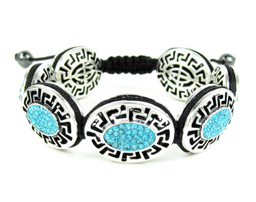 Mens white stainless steel aqua blue rhinestone oval fendi style bracelet 3.50ct