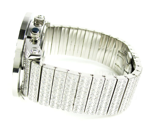 Mens techno com kc white cz xl bezel watch 25.00ct