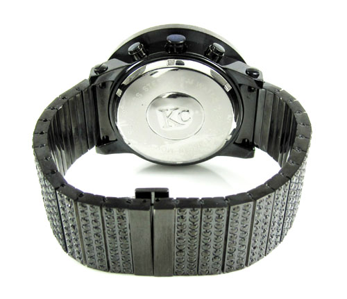 Black cz techno com by kc fully iced out xl watch 25.00ct