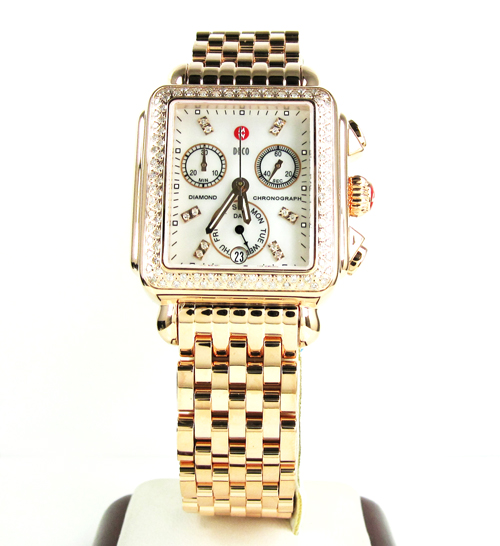 Ladies michele deco date & day diamond rose gold stainless steel watch 0.66ct