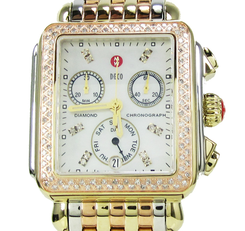 Ladies michele deco date & day diamond tri-tone stainless steel watch 0.66ct