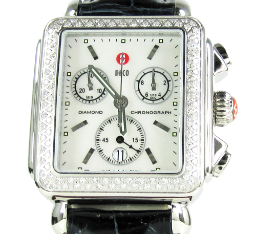 Ladies michele deco date diamond white stainless steel watch 0.60ct