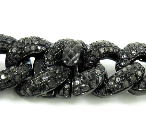Black sterling silver black diamond miami link bracelet 12.50ct