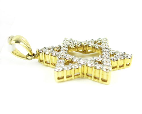Unisex star of david diamond pendant 1.10ct