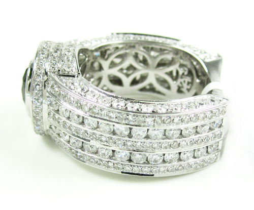 Mens 14k white gold black & white diamond fashion ring 5.00ct