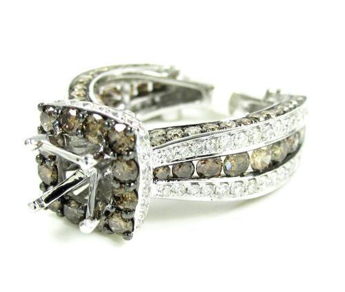 Ladies 14k white gold champagne diamond semi mount ring 3.86ct