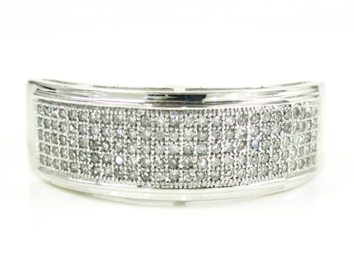 Mens 10k white gold diamond wedding band 0.40ct