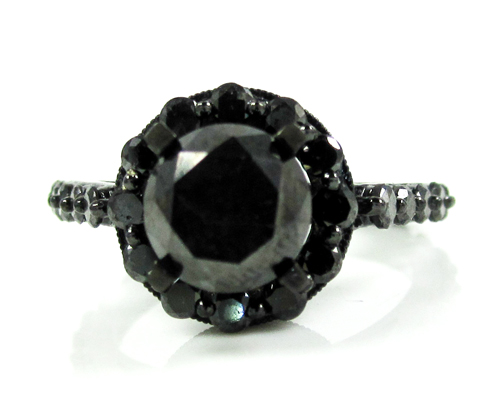 Ladies 10k black gold black diamond fancy engagement ring 3.73ct