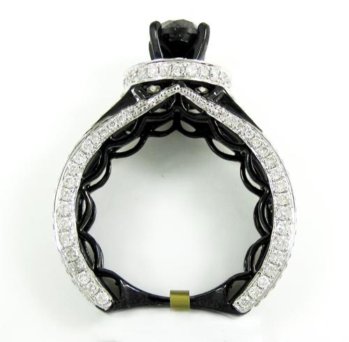 Ladies 10k black gold black & white diamond engagement ring 4.85ct