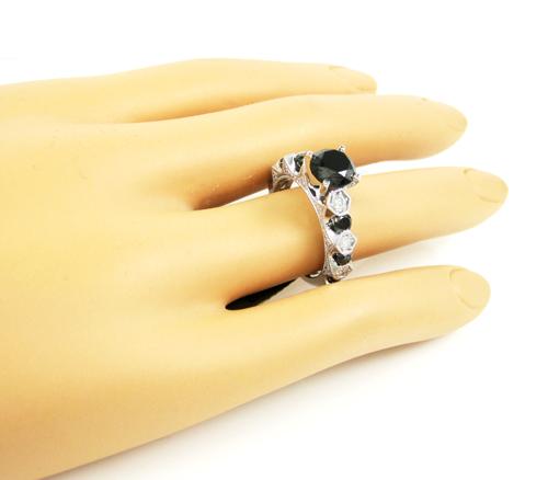 Ladies 10k white gold black & white diamond engagement ring 3.10ct