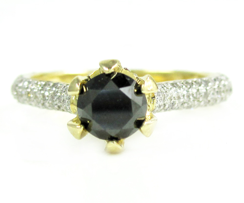 Ladies 14k yellow gold black & white diamond engagement ring 1.50ct