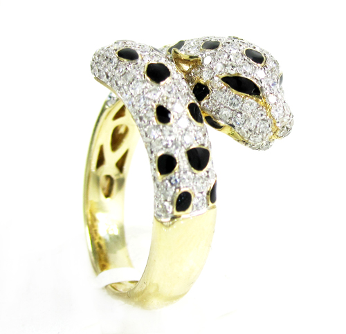 Ladies 14k yellow gold diamond & black enamel leopard ring 1.42ct