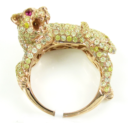 Ladies 14k rose gold canary diamond & red ruby panther ring 4.24ct