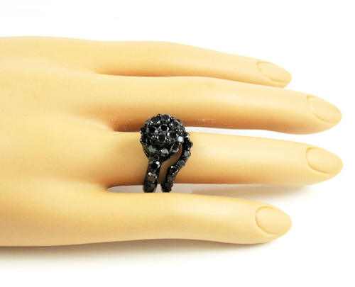 Ladies 10k black gold black diamond engagement ring set 3.72ct