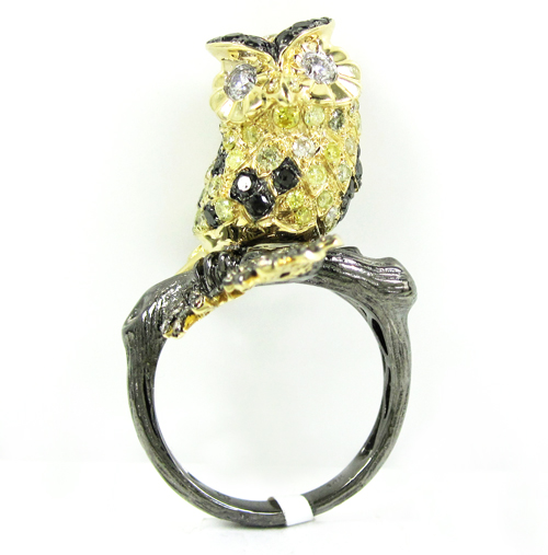 Ladies 14k yellow gold multi colored diamond owl ring 2.54ct