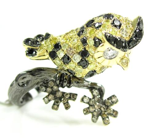Ladies 14k yellow gold multi colored diamond owl ring 2.54ct
