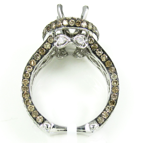 Ladies 14k white gold champagne & white diamond semi mount ring 3.45ct