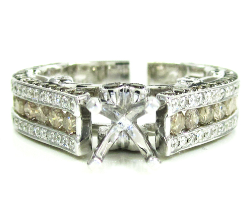 Ladies 14k white gold champagne & white diamond semi mount ring 2.36ct