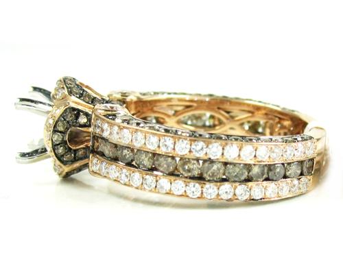 Ladies 14k rose gold champagne & white diamond semi mount ring 2.66ct