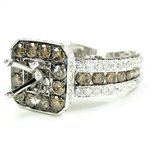 Ladies 14k white gold champagne & white diamond semi mount ring 3.68ct