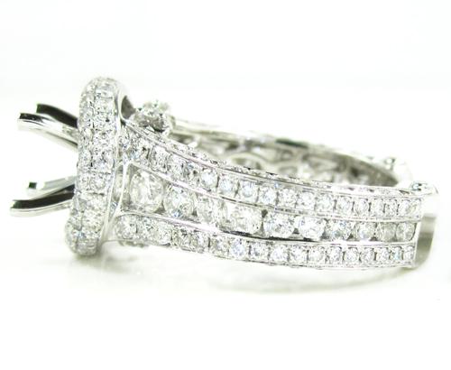 Ladies 14k white gold diamond semi mount ring 3.39ct