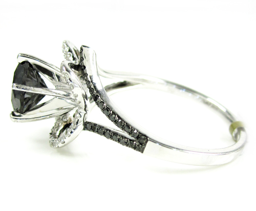 Ladies 10k white gold black & white diamond engagement ring 2.36ct