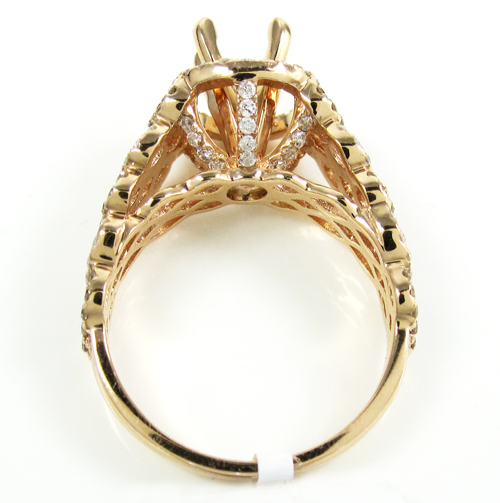 Ladies 14k rose gold champagne & white diamond semi mount ring 1.04ct