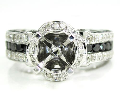 Ladies 14k white gold black & white diamond semi mount ring 2.80ct