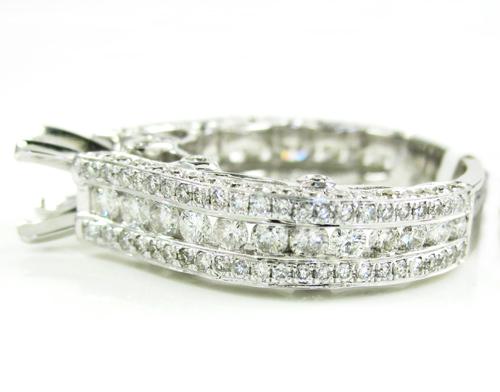 Ladies 14k white gold diamond semi mount ring 2.17ct