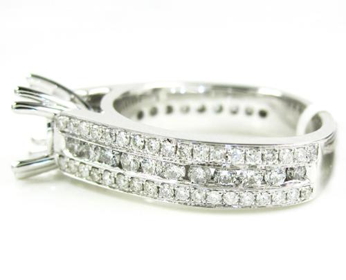 Ladies 14k white gold diamond semi mount ring 1.06ct