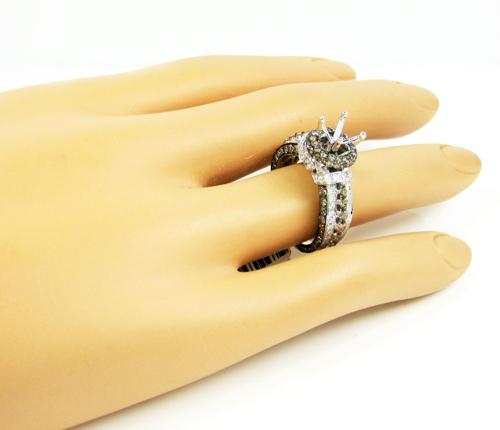 Ladies 14k white gold champagne & white diamond semi mount ring 2.25ct