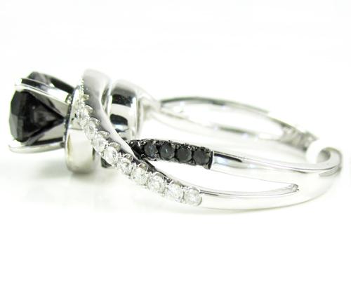 Ladies 14k white gold black diamond engagement ring 2.36ct
