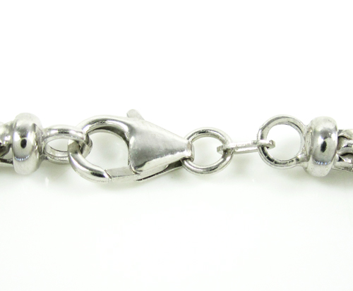 10k white gold solid franco link bracelet 8.50 inches 3.65mm