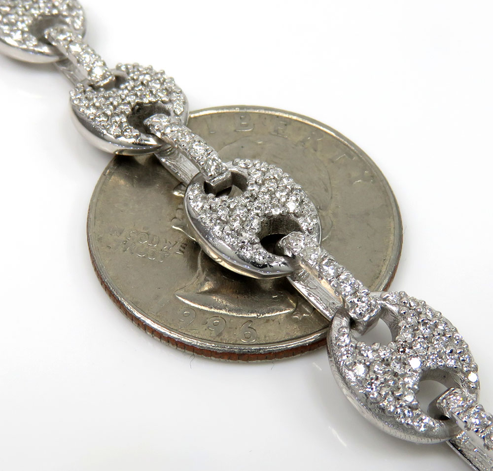 Mens 14k white gold diamond gucci 9mm link chain 11.68ct