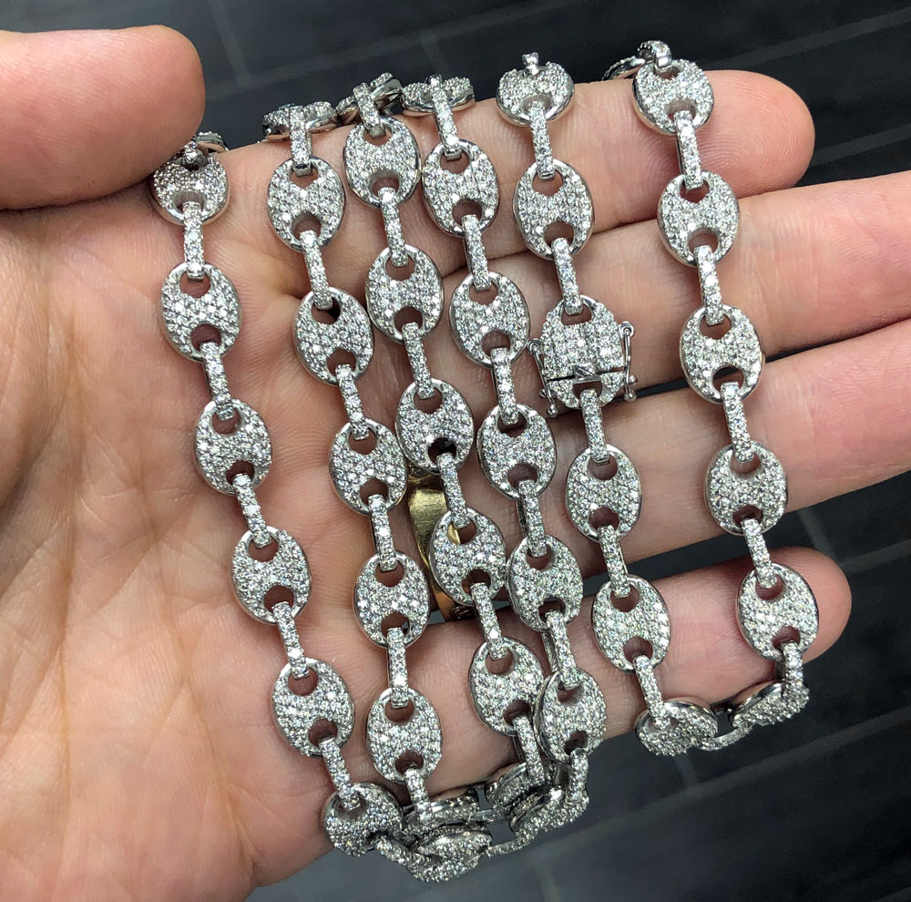 Mens 14k white gold diamond gucci 9mm link chain 18-30 inches 12.50ct