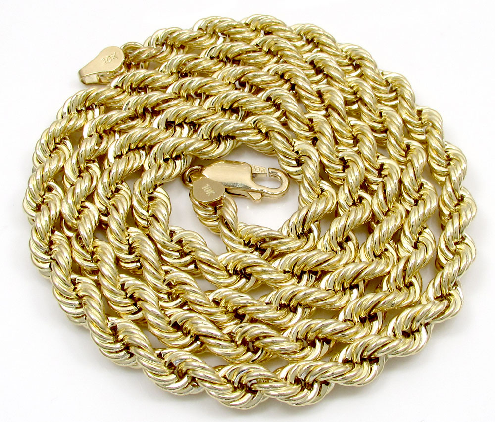 10k yellow gold smooth rope chain 20-30 inch 5mm