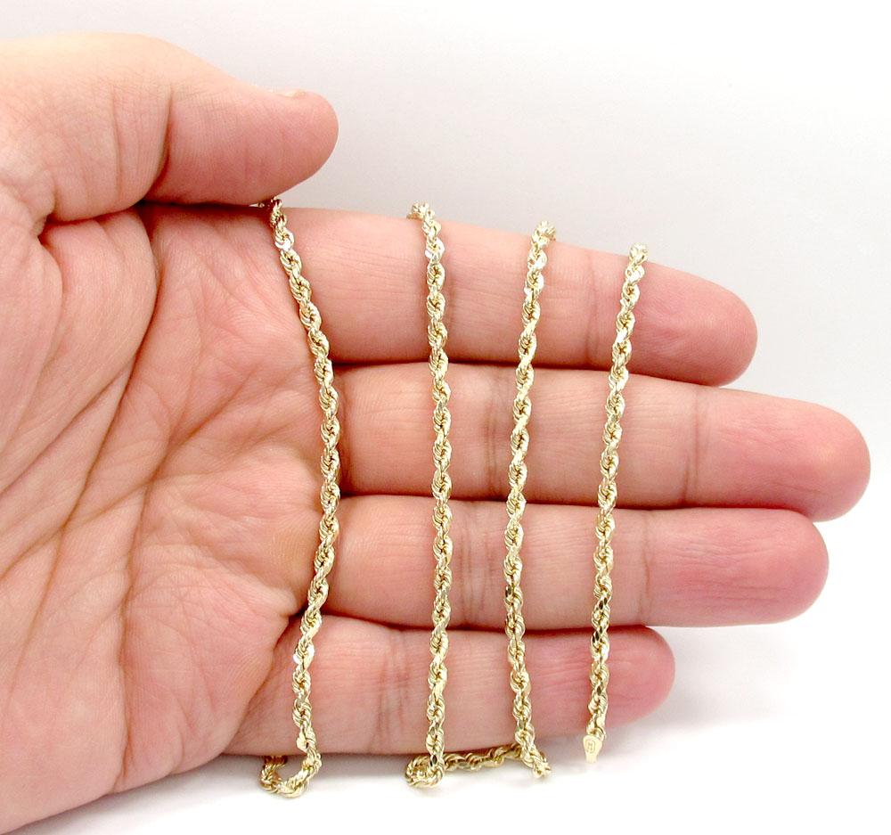 10k yellow gold skinny diamond cut rope chain 16-30 inch 2.50mm