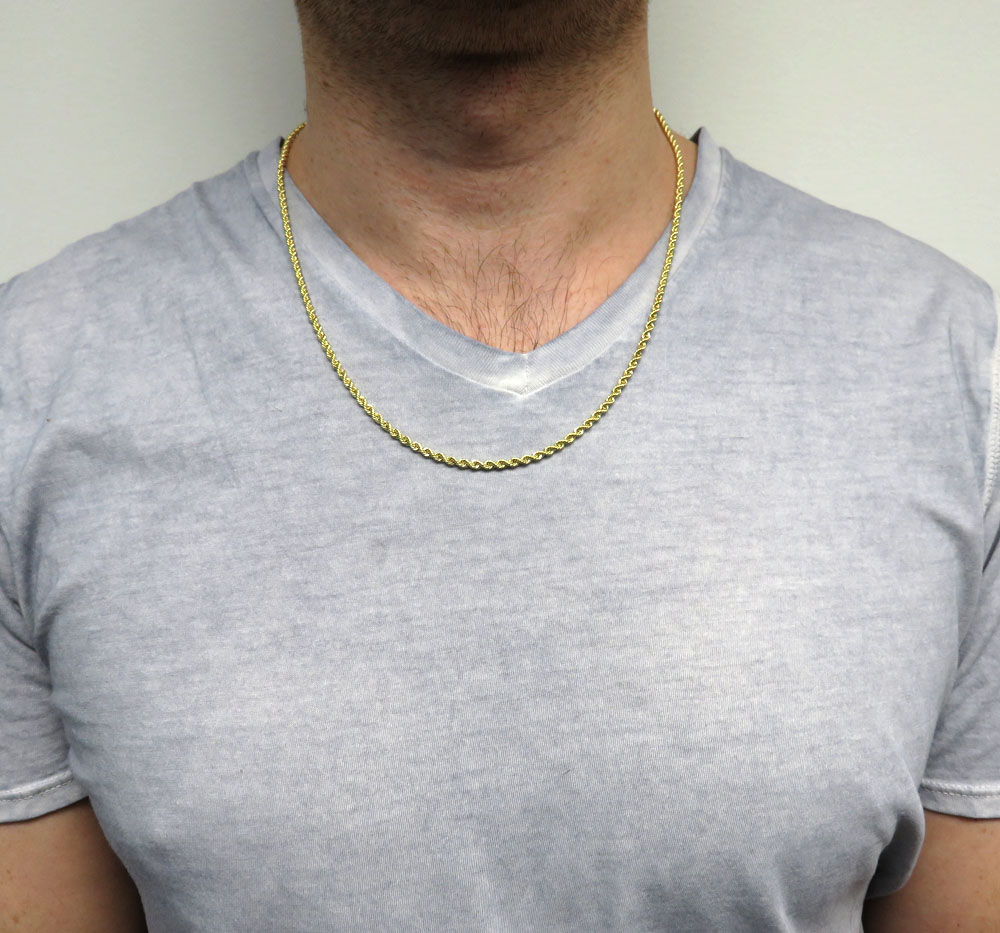 10k yellow gold skinny rope chain 16-24 inch 2.40mm